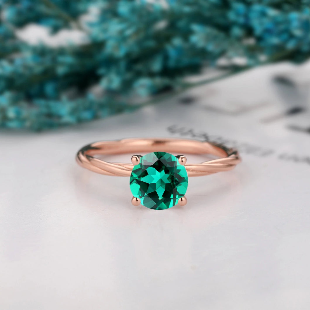 Unique Rope Twist Design Ring, 1.25CT Round Cut Lab Created Emerald Band Ring