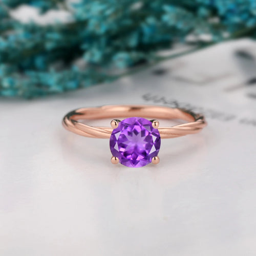 Dainty Prong Set Gemstone Ring, 1.25CT Round Cut Natural Amethyst Ring