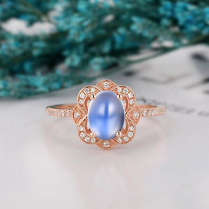 Half Eternity Halo Wedding Ring, 6x8mm Oval Shape Natural Rainbow Moonstone Ring