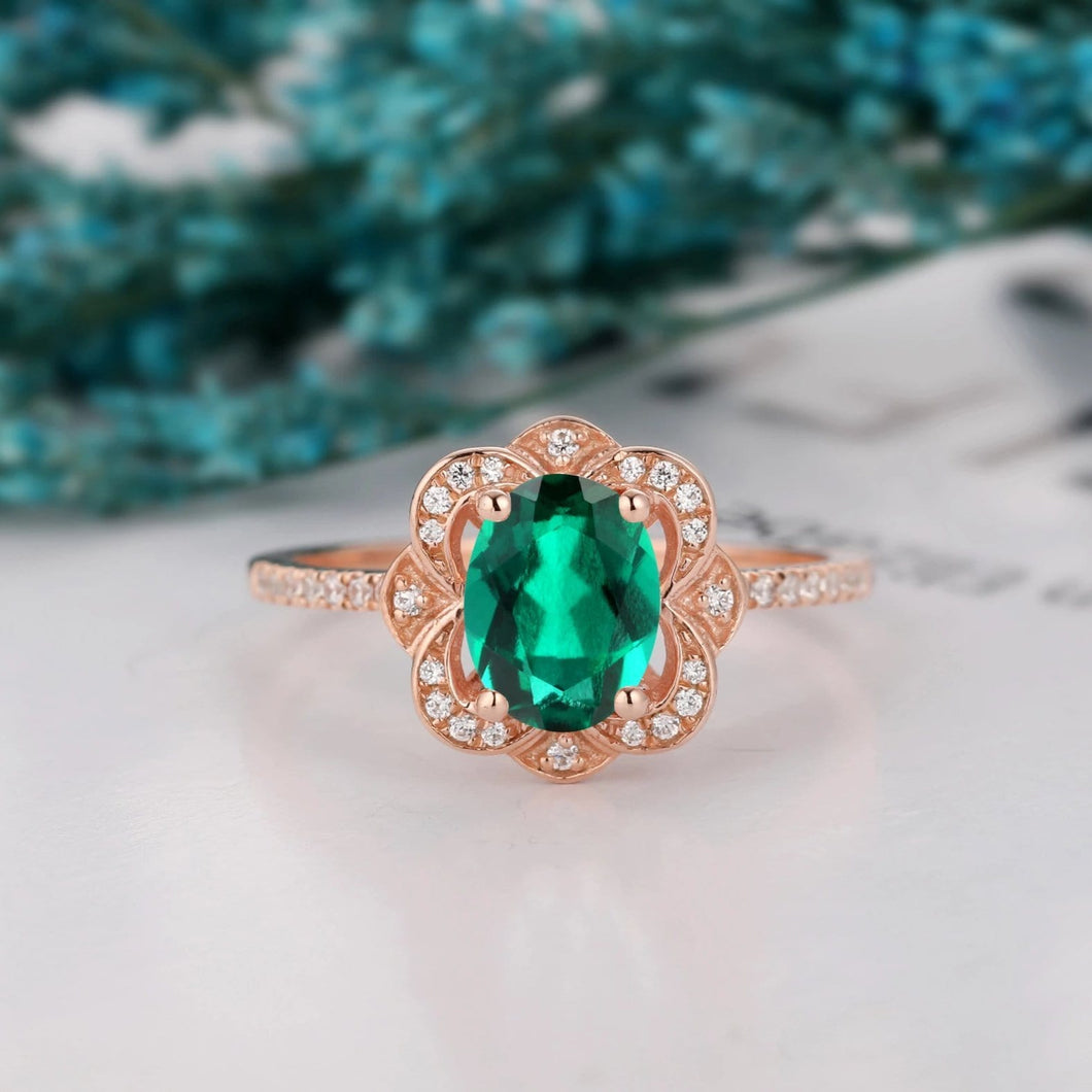 Prong Set Engagement Ring, 6x8mm Oval Cut Lab Created Emerald Ring