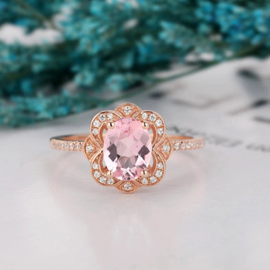 Oval Cut 1.5 CT Morganite Engagement Ring Floral Wedding Ring