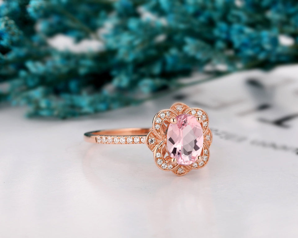 Oval Cut 6x8mm Natural Morganite Ring, 14k Gold Halo Engagement Ring