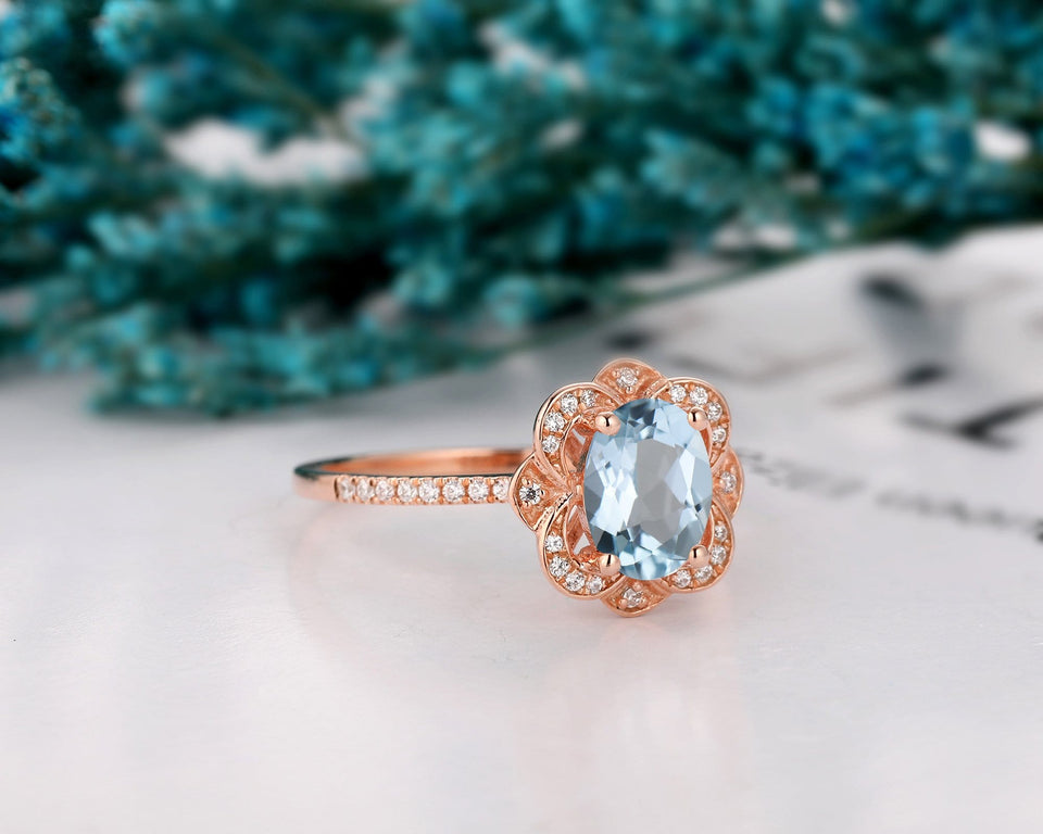 Antique Engagement Ring, 1.5CT Oval Cut Natural Aquamarine Ring