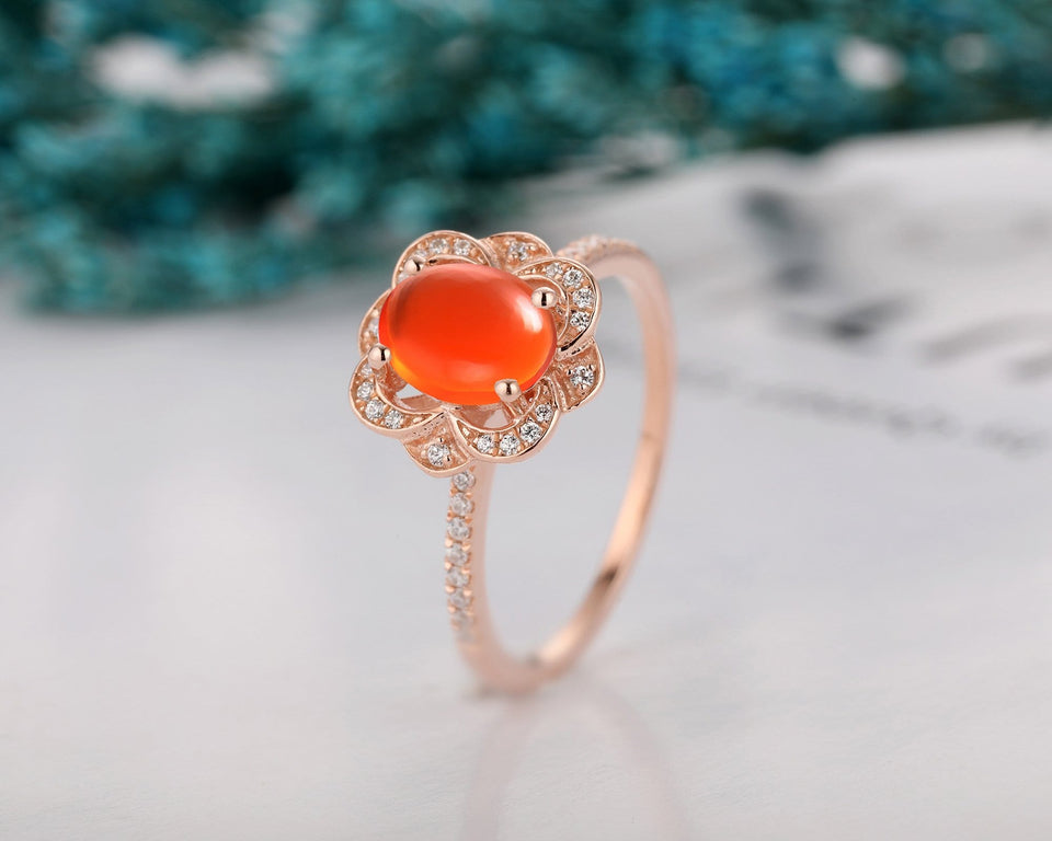 Wedding Anniversary Ring, 6x8mm Oval Shape Natural Mexican Fire Opal Ring
