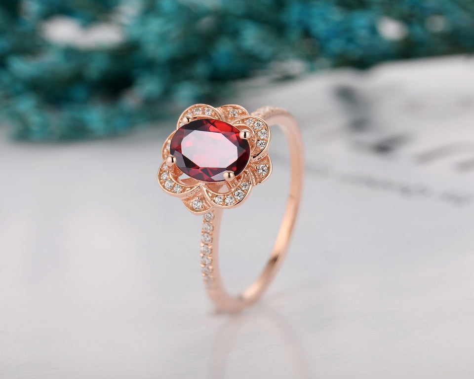 Birthstone Ring, 6x8mm Oval Cut Natural Red Garnet Promise Anniversary Ring