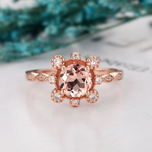 Half Eternity Birthstone Ring , Excellent 1.0CT Round Cut Natural Morganite Ring