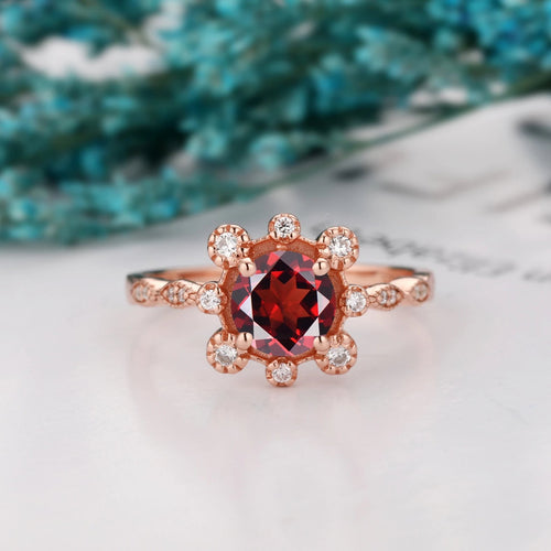 Excellent Birthstone Ring, 1.0CT Round Cut Natural Red Garnet Engagement Ring