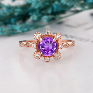 Delicate Wedding Ring, Unique 1.0CT Round Cut Natural Amethyst Ring