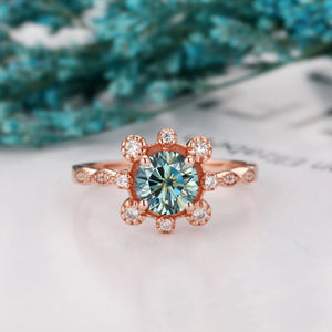 Unique Anniversary Ring, 1.0CT Brilliant Round Cut Blue Moissanite Wedding Ring