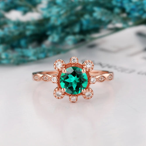 Brilliant Moissanite Promise Wedding Ring, 1.0CT Round Cut Lab Created Emerald Ring