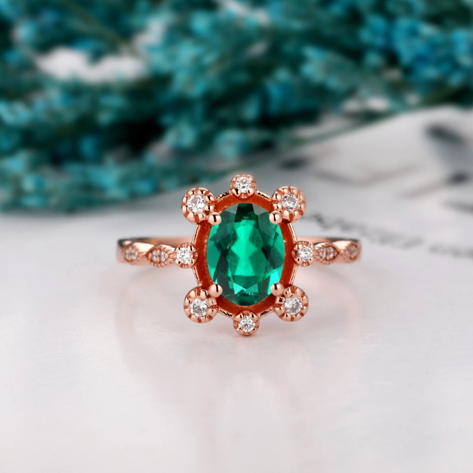 Elegant Moissanite Ring, 1.5CT Oval Cut Lab Created Emerald Half Eternity Ring