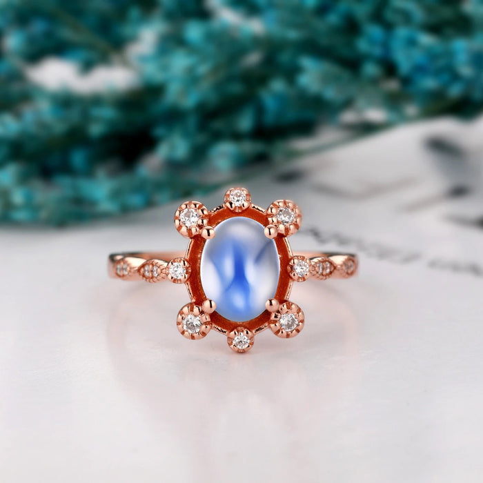 Gemstone Wedding Ring, 6x8mm Oval Shape Natural Rainbow Moonstone Promise Ring