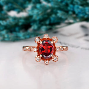 Delicate Gemstone Ring, 1.5CT Oval Cut Natural Red Garnet Promise Ring