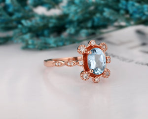 Moissanite Accents Wedding Ring, 1.5CT Oval Cut Natural Aquamarine Ring