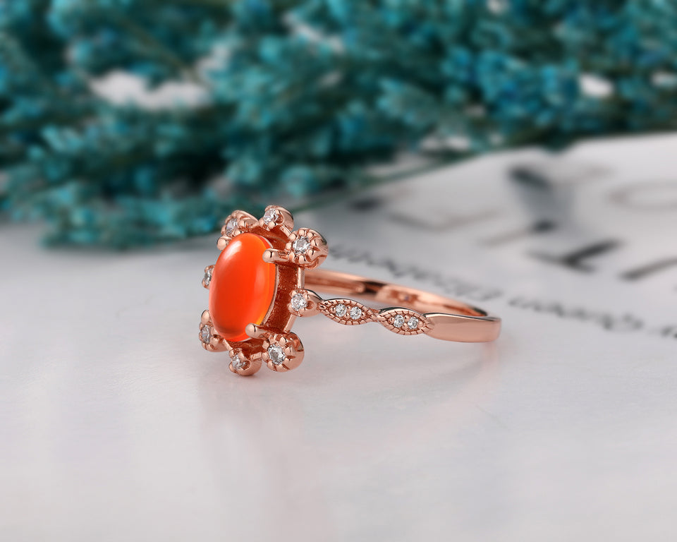 Delicate Moissanite Wedding Ring, 6x8mm Oval Shape Natural Mexican Fire Opal Ring