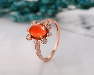 Floral Accents Oval Cut 6x8mm Mexican Fire Opal Engagement Ring