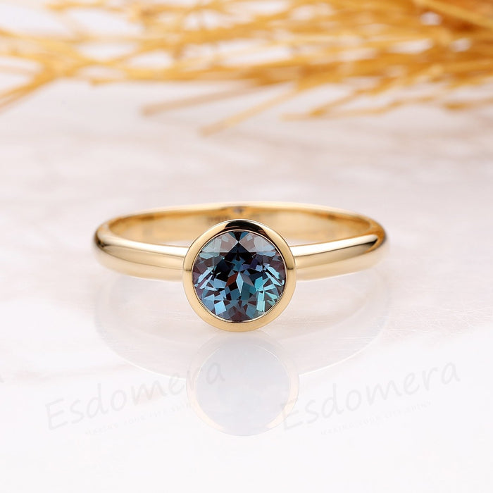 Bezel Set 0.8CT Round Alexandrite Ring, Simple Solitaire 14k Yellow Gold Ring