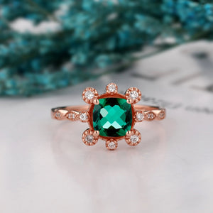 Antique Moissanite Wedding Ring, 1.3CT Cushion Cut Lab Created Emerald Gemstone Ring
