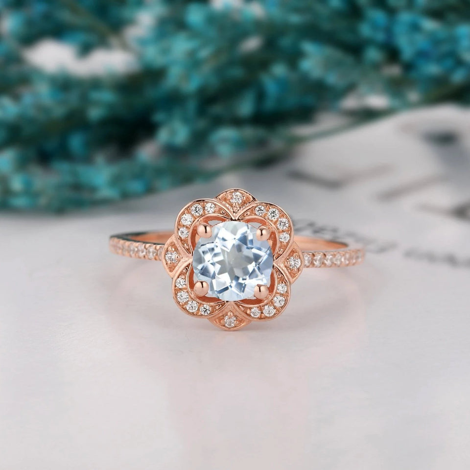 Floral Halo Wedding Ring, 1.0CT Round Cut Natural Aquamarine Ring