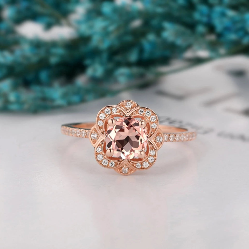 Rose Gold Half Eternity Wedding ring, 1.0CT Round Cut Morganite Ring