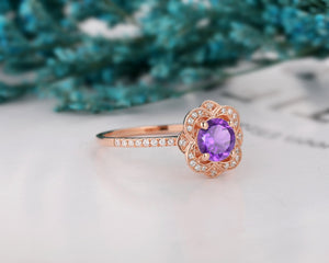 Gemstone Ring, 6.5mm Round Cut Natural Amethyst Promise Anniversary Ring