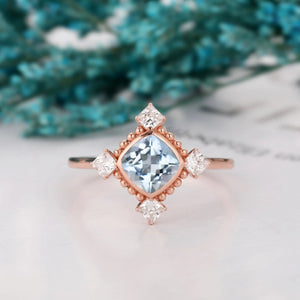 Accents Milgrain Ring, 1.1CT Cushion Cut Natural Aquamarine Wedding Ring