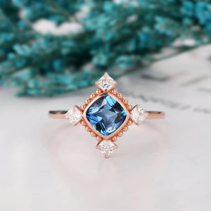 Solid 14k Gold Milgrain Wedding Ring, 1.1CT Cushion Cut Natural London Blue Topaz Ring