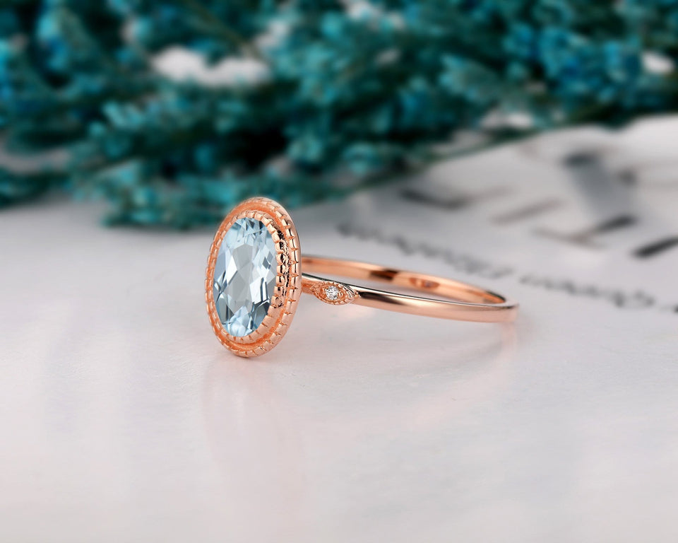 Art Deco Ring, 2.1CT Oval Cut Natural Aquamarine Wedding Ring