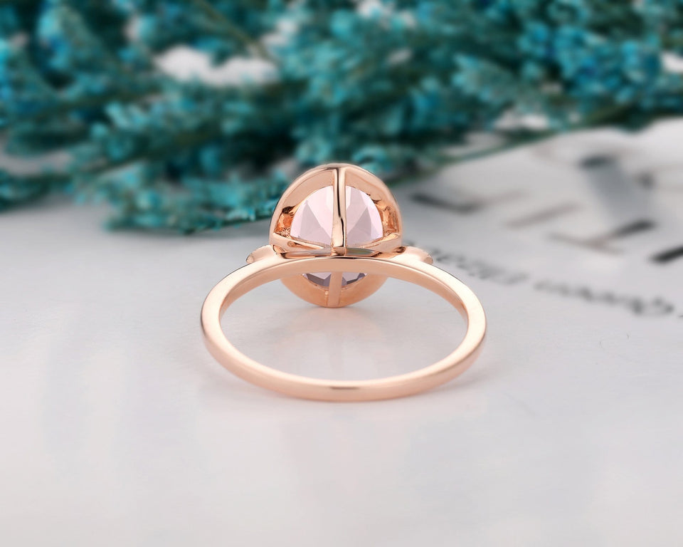 Art Deco Promise Ring, 7x9mm Oval Cut Natural Morganite Engagement Ring
