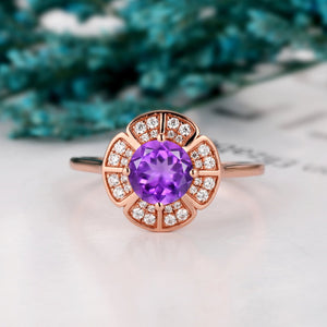Floral Design Wedding Ring, Excellent 1.0CT Round Cut Natural Amethyst Ring