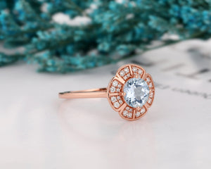Promise Ring, 1.0CT Round Cut Natural Aquamarine Wedding Ring, Floral Halo Ring