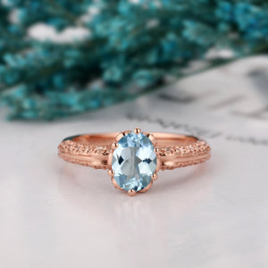 Half Eternity Engagement Ring, 1.5CT Oval Cut Natural Aquamarine Promise Ring