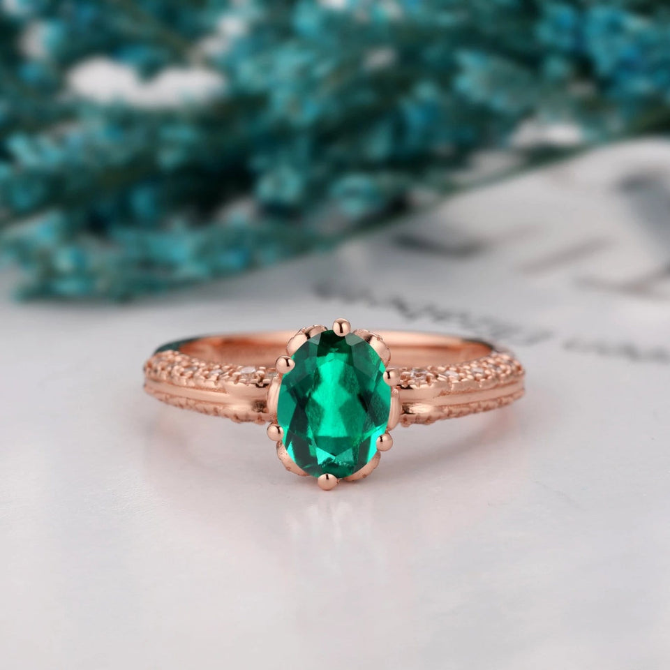 Hidden Halo Engagement Ring, 1.5CT Oval Cut Lab Created Emerald Ring
