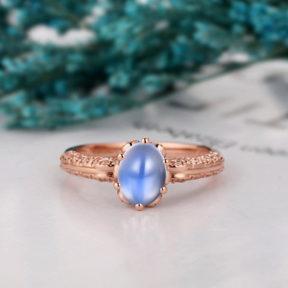 1.5CT Oval Shape Natural Rainbow Moonstone Ring, Solid 14k Gold Art Deco Ring