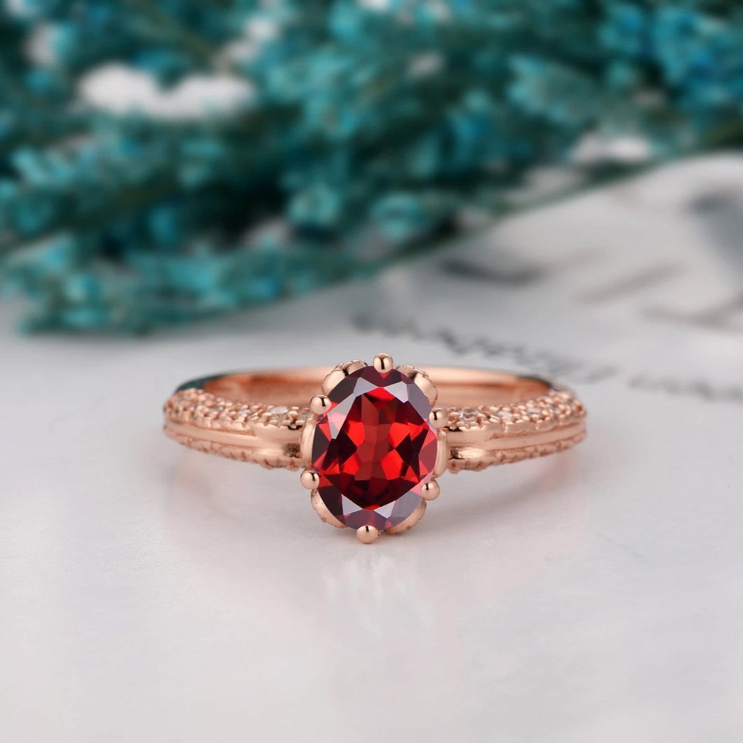 Hidden Halo Engagement Ring, 1.5CT Oval Cut Natural Red Garnet Ring