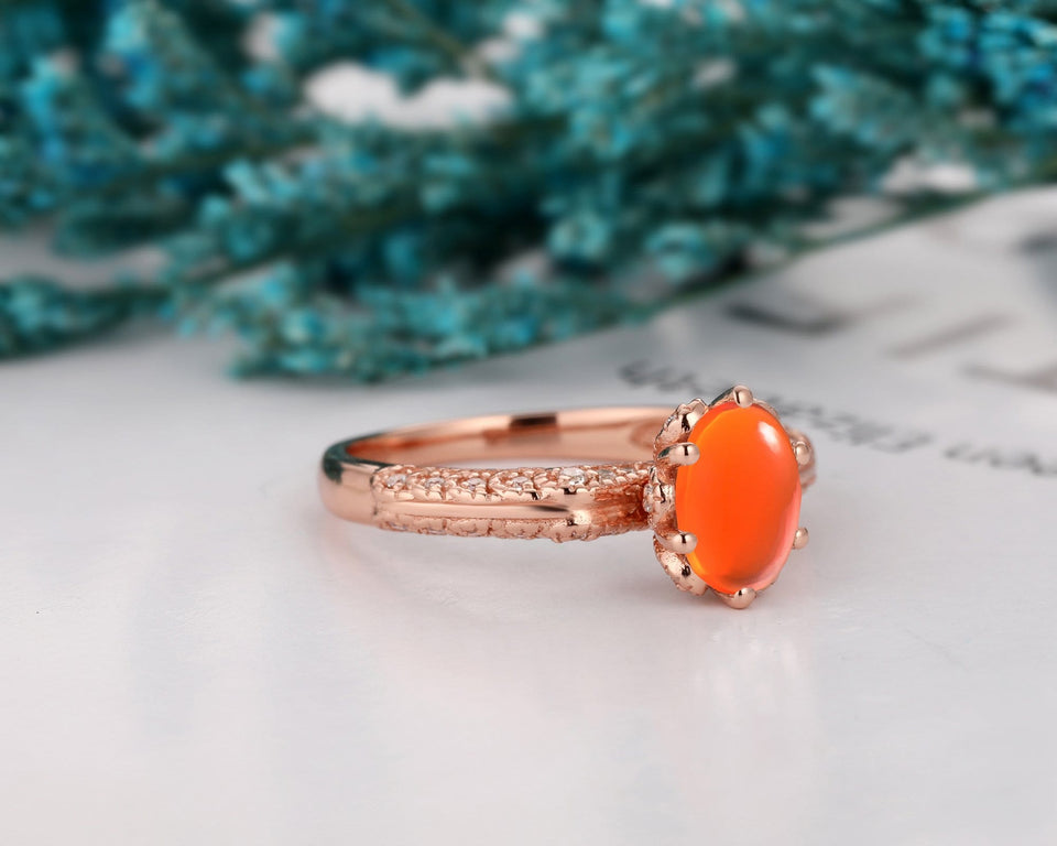 Rose Gold Vintage Style Ring, 6x8mm Oval Shape Natural Mexican Fire Opal Ring