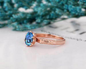 Personalized Wedding Ring, 1.5CT Oval Cut Natural London Blue Topaz Ring