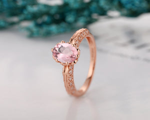 1.5CT Oval Cut Morganite Wedding Ring, Vintage Style Bridal Ring