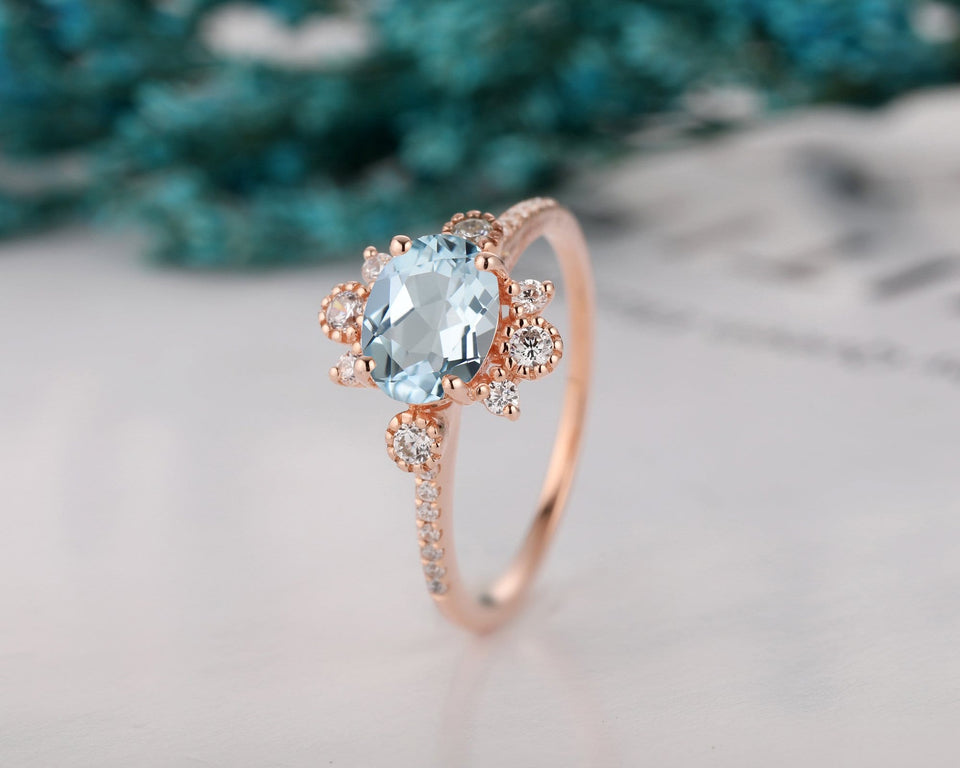 Aquamarine Wedding Ring, 1.5CT Oval Cut Moissanite Accents Ring