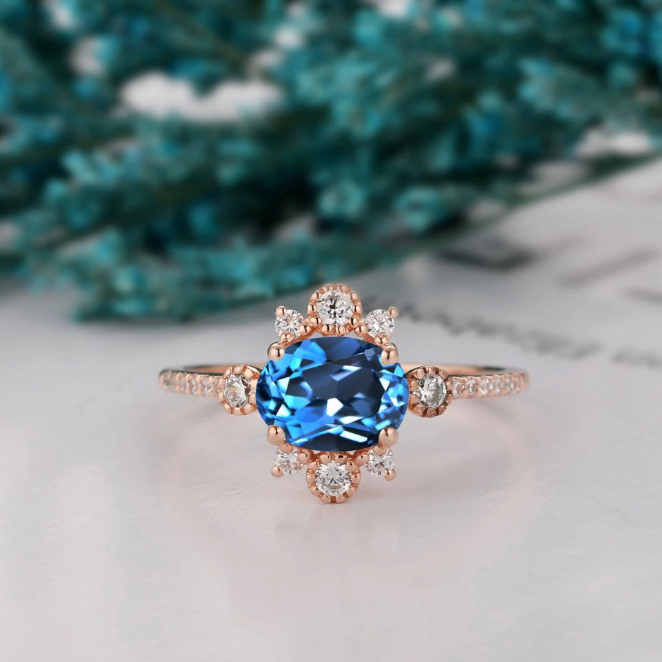 Art Deco Wedding Ring, 1.5CT Brilliant Oval Cut Natural London Blue Topaz Ring