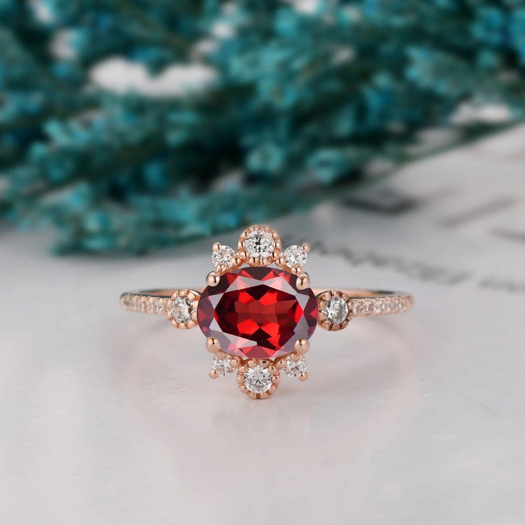 January Birthstone Ring, 6x8mm Oval Cut Natural Red Garnet Wedding Ring