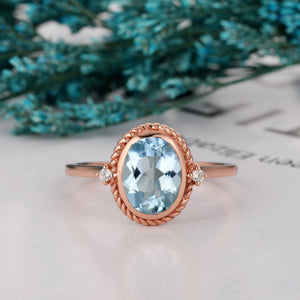 Moissanite Accents Ring, 2.1CT Oval Cut Natural Aquamarine Wedding Ring
