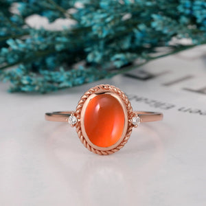 Colorless Moissanite Accents Wedding Ring, 7x9mm Oval Natural Mexican Fire Opal Ring