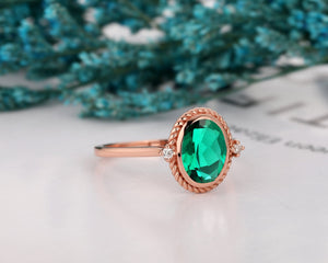 Moissanite Accents Ring, 2.1CT Oval Cut Lab Created Emerald Wedding Ring