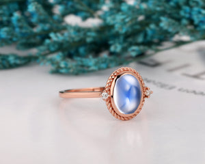 Handcrafted Jewelry, 7x9mm Oval Shape Natural Rainbow Moonstone Ring
