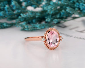 Oval Cut 2.1CT Morganite Wedding Ring, Moissanite Accents Anniversary Ring