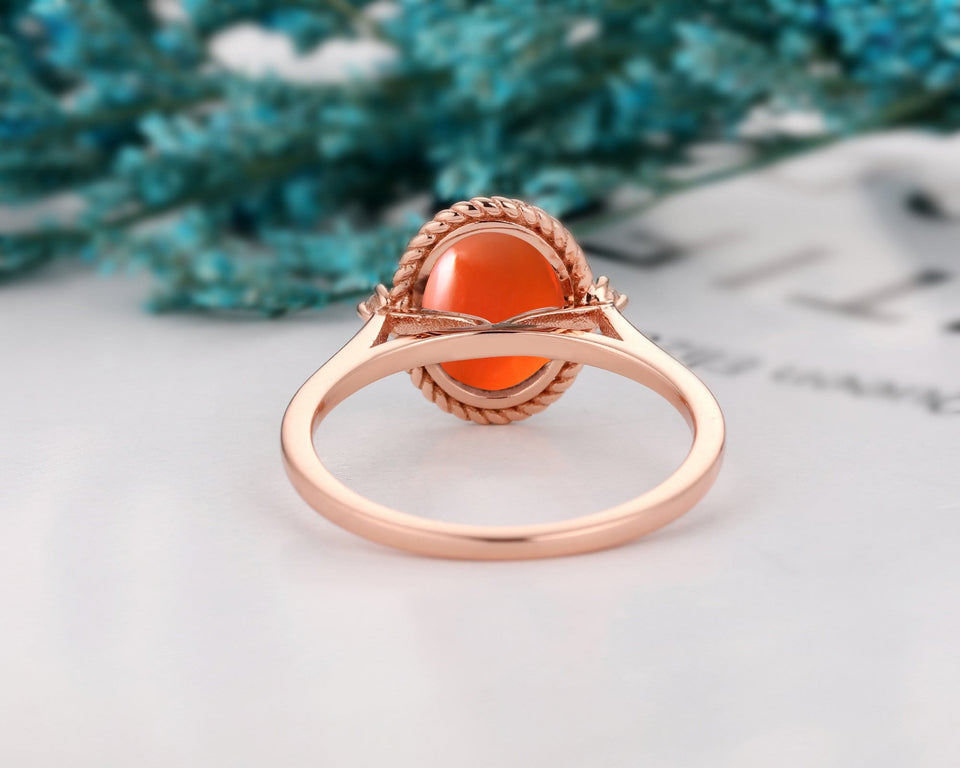 Vintage Bezel Oval Cut 7x9mm Mexican Fire Opal Engagement Ring