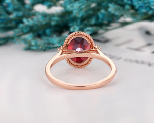 Solid 14k Gold Moissanite Accents Ring, 2.1CT Oval Cut Natural Red Garnet Ring