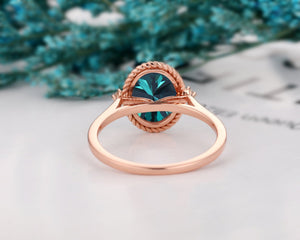 2.1CT Oval Cut Blue Moissanite Wedding Ring, 14k Rose Gold Accents Ring