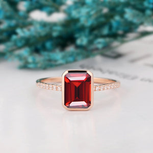 Brilliant Moissanite Ring, 2.0CT Emerald Cut Natural Red Garnet Wedding Ring